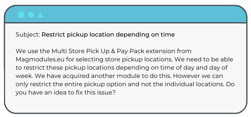 Magento Support Request: Shipping Extension
