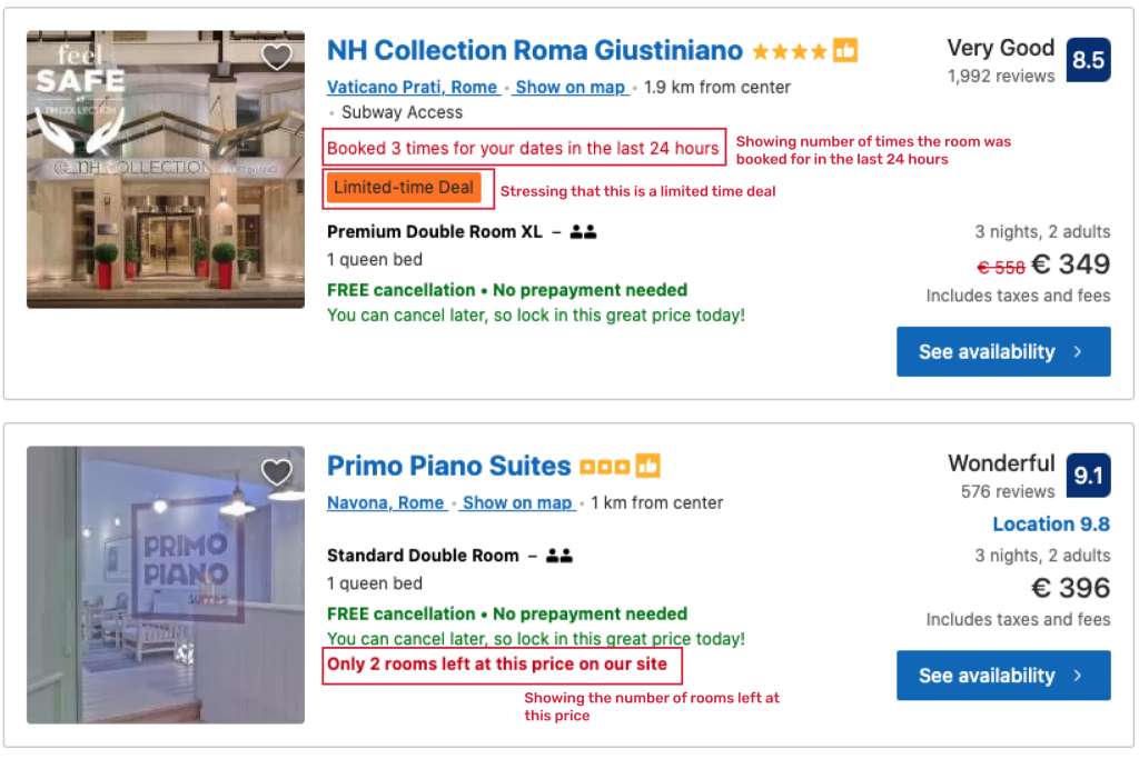 An example of how Booking.com masterfully employs scarcity marketing